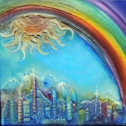 Diana Anderegg - Rainbowcity - oil on canvas - 50 x 50